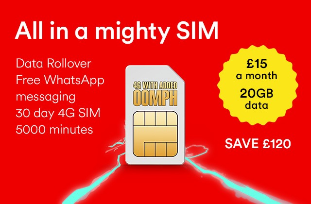 20Gb of 4G data and 5000 mins for £15 on a 1 month roller with Virgin Mobile